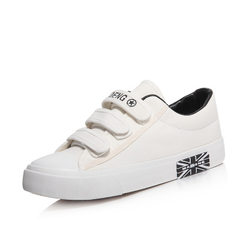 Maidan wholesale hot style low help magic pasted breathable canvas shoes flat flat pure color studen white 35