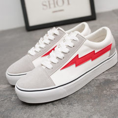 Korean version of the original ulzzang canvas shoes women take a lot of casual black shoes students  White red (women`s) 35