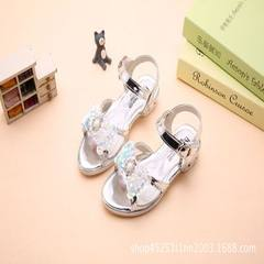 2018 summer south Korean version of the new bowknot flowers in the children`s sandal sandal and magi silver 32