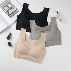 无痕一片式点胶日本安心1代尚品内衣睡眠无钢圈运动防震抹胸文胸 黑色 S