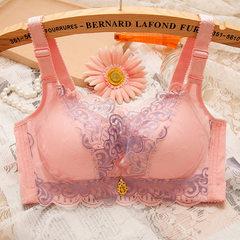 无钢圈加厚小胸加聚拢文胸性感调整型胸罩女士内衣上薄下厚收副乳 粉色 70AB/32AB