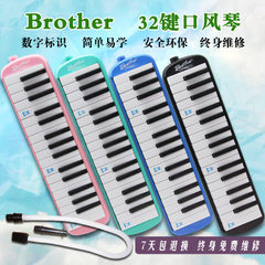 Brother`s organ 32 key students learn to play an instrument, pipe and mouth 32 button Brother pink
