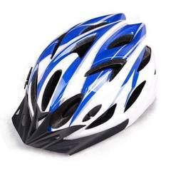 厂家直销单车 自行车 山地车一体成型超轻款骑行头盔  男女头盔 蓝白色 均码