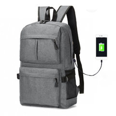 2018 new multi-function rechargeable USB backpack computer backpack travel leisure Korean version of purple