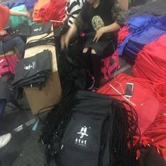 新款上市大号束口包篮球抽绳包户外运动尼龙包男女包骑行背包 黑色