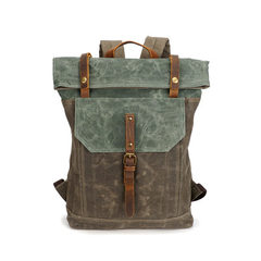 Source point men`s backpack backpack backpack retro crazy horse leather boy bag student travel canva Army green with coral green 16 inches