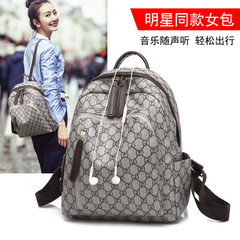Manufacturer wholesale fashion backpack women`s new style 2018 European and American old flower PVC  Light grey