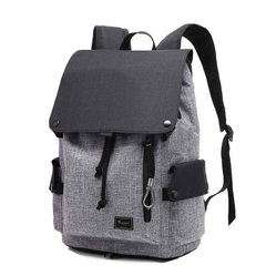 Foldable backpack Korean version of the new school backpack canvas travel backpack leisure computer  Grey with black (LOGO) 15.6 inches