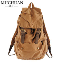 Mu chuan men`s rucksack backpack shoulder bag women`s leisure backpack Korean version of college win Deep khakis