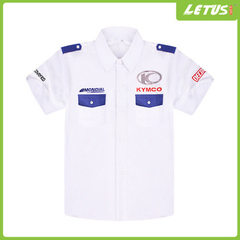 Guangzhou factory custom-made short-sleeved shirt all cotton white car team uniform racing suit red s.