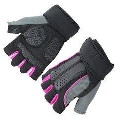 跨境健身哑铃器械力量训练半指户外护腕举重运动骑行手套 红色 S