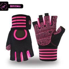 MK100-1加强版男女健身手套半指运动短指手套工厂直批 黑粉红色 S