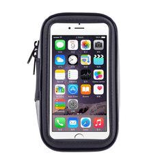 新款可触屏自行车手机防水包 山地车支架防水包 骑行手机支架包 黑色 5.5寸