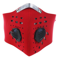 户外骑行面罩自行车面罩 跑步运动防风防尘防雾霾带呼吸阀口罩男 红色 均码