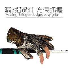 钓鱼手套露三指透气防滑防晒 骑行手套半指 迷彩 S