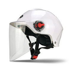 摩托车头盔电动车骑行头盔ZHC703男女通用透气防晒夏盔可定制LOGO 白色 可调节内衬