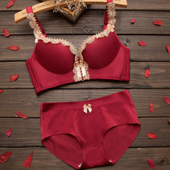 Loretta court stretch bra, lace edge, stainless steel ring, ladies` high-end underwear set red 32/70 a