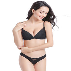 Spring and summer 2018 new seamless steel ring bra set sexy lace underwear triangle thin cotton cup  black 32 (70) +S pants
