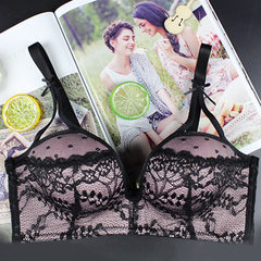 NB sweet bra underwear lace without steel ring bra set gathering small breasts European and American black 32 b - 70 - b