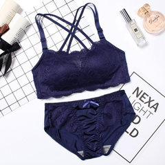 In 2017, the new honey lover bra set has no trace, no steel ring, sexy gathering and adjusting comfo blue 32 b - 70 - b