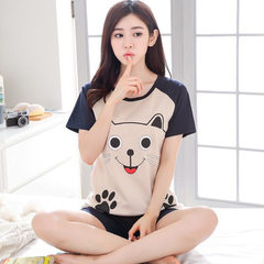2018 pyjamas women summer cotton-cotton short-sleeved pyjamas ladies lovely home wear Korean version 8515 # footprints bear m