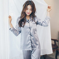 Korean hot style is the same as the pure silk pajamas women chunqiu thin sexy silk long-sleeve loose Double silver grey m