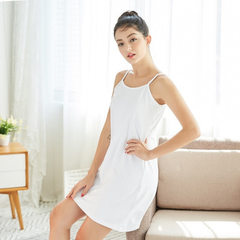 Ladies` halter skirt with bottom drawstring sleeping skirt loose cotton full-cotton pasted OEM long  white All code