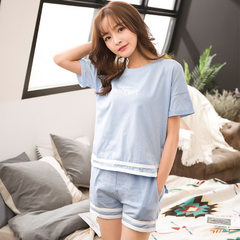Nightgown lady xia xiaoqing pure cotton short sleeve home wear lovely student cartoon princess Korea The 215-8 pale blue No. M (suggested 80-95 kg)