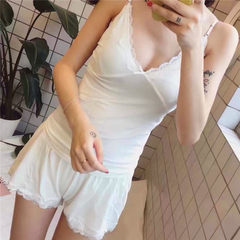 New goodnight pajamas for ladies summer hot style comfortable cotton thread ladies pajamas for two p white All code
