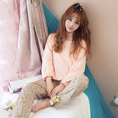 Korean version of pyjamas women spring and autumn thin short - style closed long-sleeve floral trous Z1655 s.