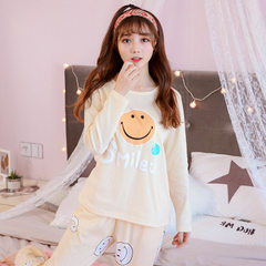 PJS cotton long-sleeved spring and autumn home wear casual Korean version of the lady cartoon set a  J1810 m