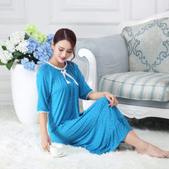Spring and summer fall girl student modale long cotton Korean version of the little flower lovely pr Modell elastic collar middle sleeve sapphire blue 160 (M)