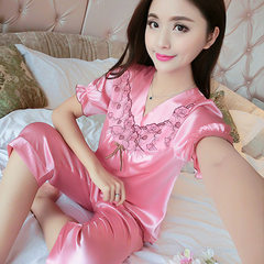 Spring and autumn short sleeved thin silk pyjamas for summer sexy women autumn two suit size one hai Watermelon red m