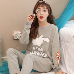 2018 nightgown women`s spring and autumn long sleeve cotton home wear leisure lady Korean version of W9175 ash m