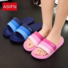 渐变条纹凉拖鞋女夏季新款时尚三条杠情侣女式家居拖鞋潮一件代发 紫色 240(36-37)适合35-36
