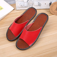 Real leather slippers for couples living in summer, leather slippers for men and women, and leather  red 25 (35 and 36)