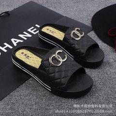 姬菲芙家居凉拖潮流韩版女式拖鞋懒人拖鞋双C图案批发 白色 36