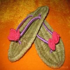 供应全手工草鞋拖鞋、麻拖鞋、精品草鞋、时尚草鞋 粉色 34