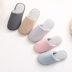 New Japanese style simple plush cotton slippers autumn winter home floor anti-slip thick bottom love black 36-37 (235 mm)