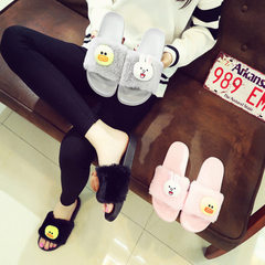 New products autumn and winter cute Korean version of the cartoon outside hair slippers anti-slipper Black bear 36