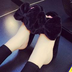 跨境可爱蝴蝶结家居家用毛毛棉拖鞋卧室内毛绒地板托鞋女厂家批发 黑色 36-37码