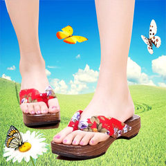 Japanese women`s tongmu wooden sandals, flip-flops, flip-flops, slippers and high-heeled wooden slip red 35