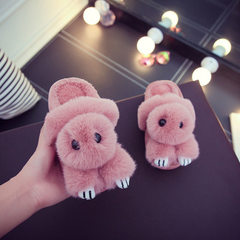 Cotton slippers women winter cartoon lovely lazy rabbit slippers wholesale household lovers home cot The color red bean paste 36/37