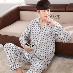 Low price men`s pyjamas new autumn men`s solid color cotton long sleeve cardigan large size men`s ho 381 xl