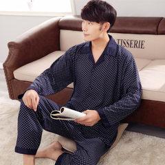 Net shop source pajamas knitting cotton autumn winter men`s pure cotton long sleeve cardigans big si 281