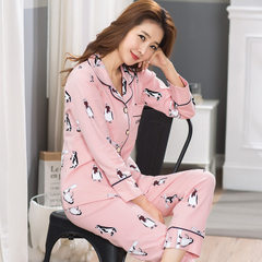 Lovers` pyjamas women autumn winter cotton long-sleeved spring and autumn cardigan all-cotton men`s  6804 female money m
