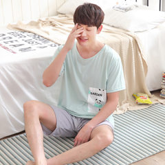 Cute cartoon men`s pyjamas set manufacturer direct selling new summer cotton thin and large size men 2732 # l
