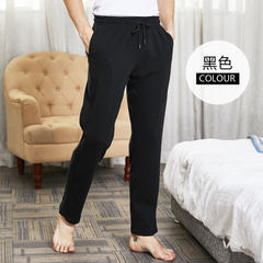 Bierdan men`s long cotton fall pants yoga pants full cotton slacks household pants black L (170).