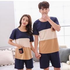Han mengfen summer Korean version of lovers pajamas cotton short sleeve women`s 100% cotton home wea 3220 The goddess of M code
