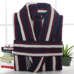 Cotton bathrobe stripe bathrobe men thickened large size cotton men`s pajamas medium length leisure  Dark blue, red and white stripes xs